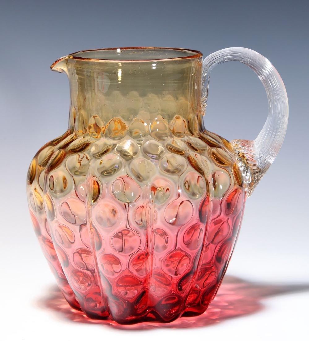 A 19TH C. AMBERINA VICTORIAN ART GLASS PITCHER