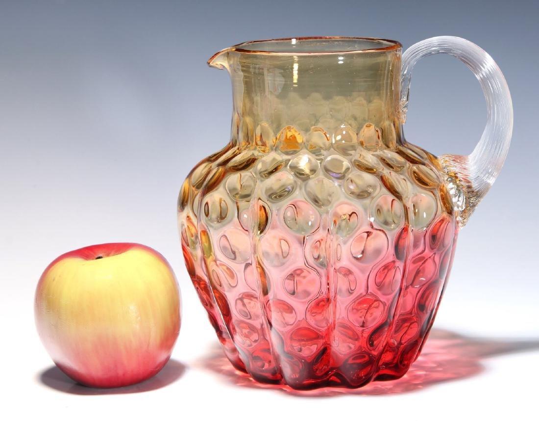 A 19TH C. AMBERINA VICTORIAN ART GLASS PITCHER - 2