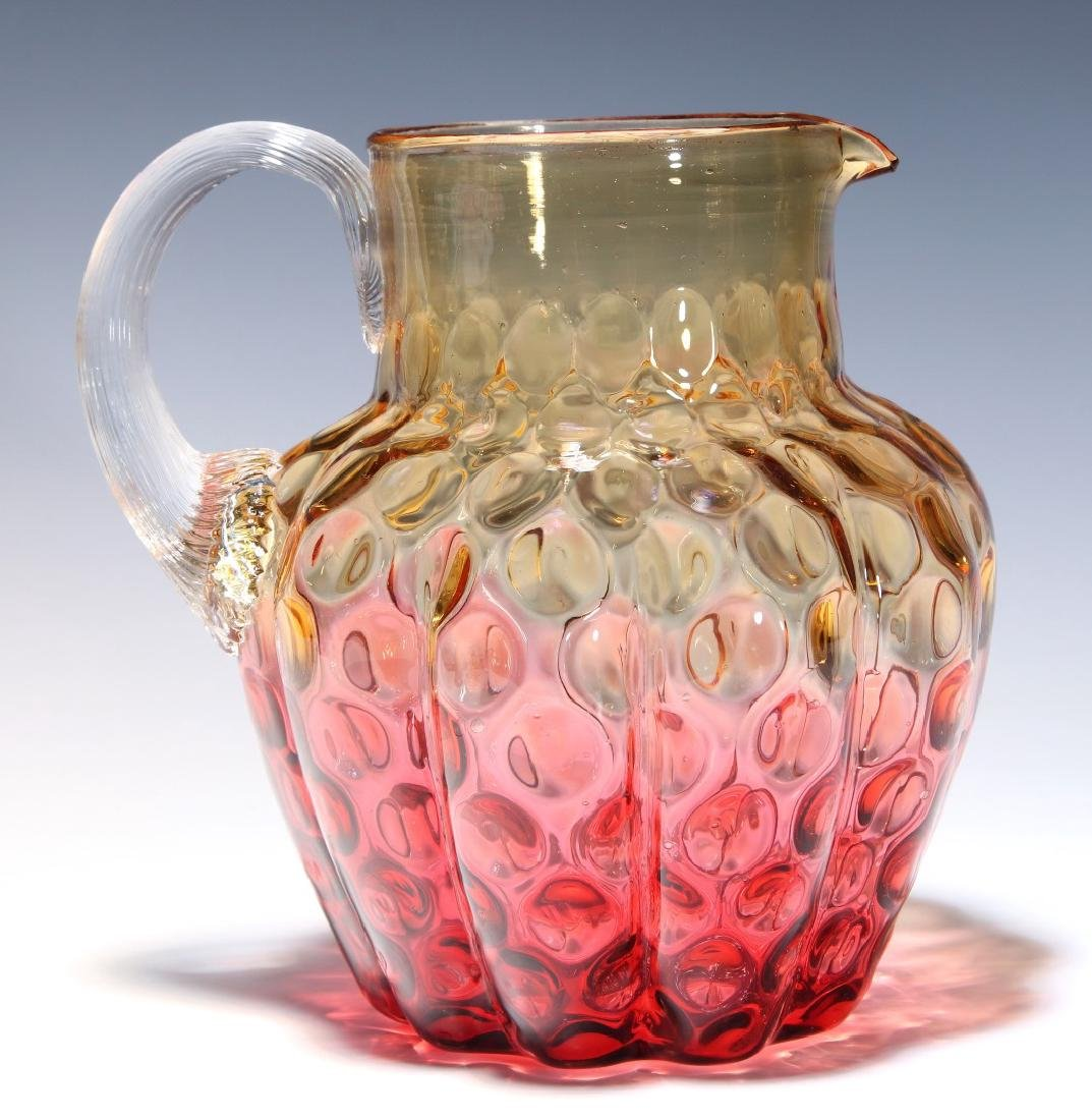 A 19TH C. AMBERINA VICTORIAN ART GLASS PITCHER - 6
