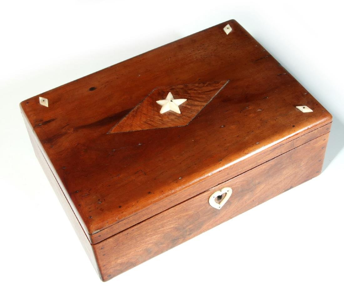 A 19TH C. SAILOR-MADE BOX WITH MARINE IVORY DECORATION