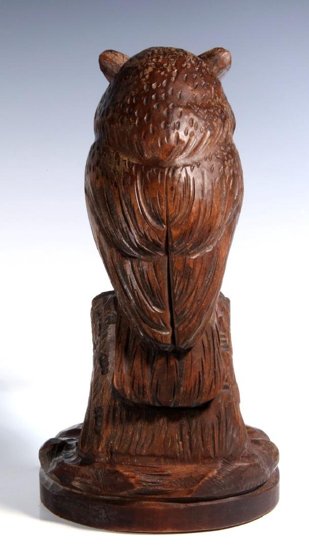 A BLACK FOREST CARVED WOOD OWL FORM WATCH HANGER - 6