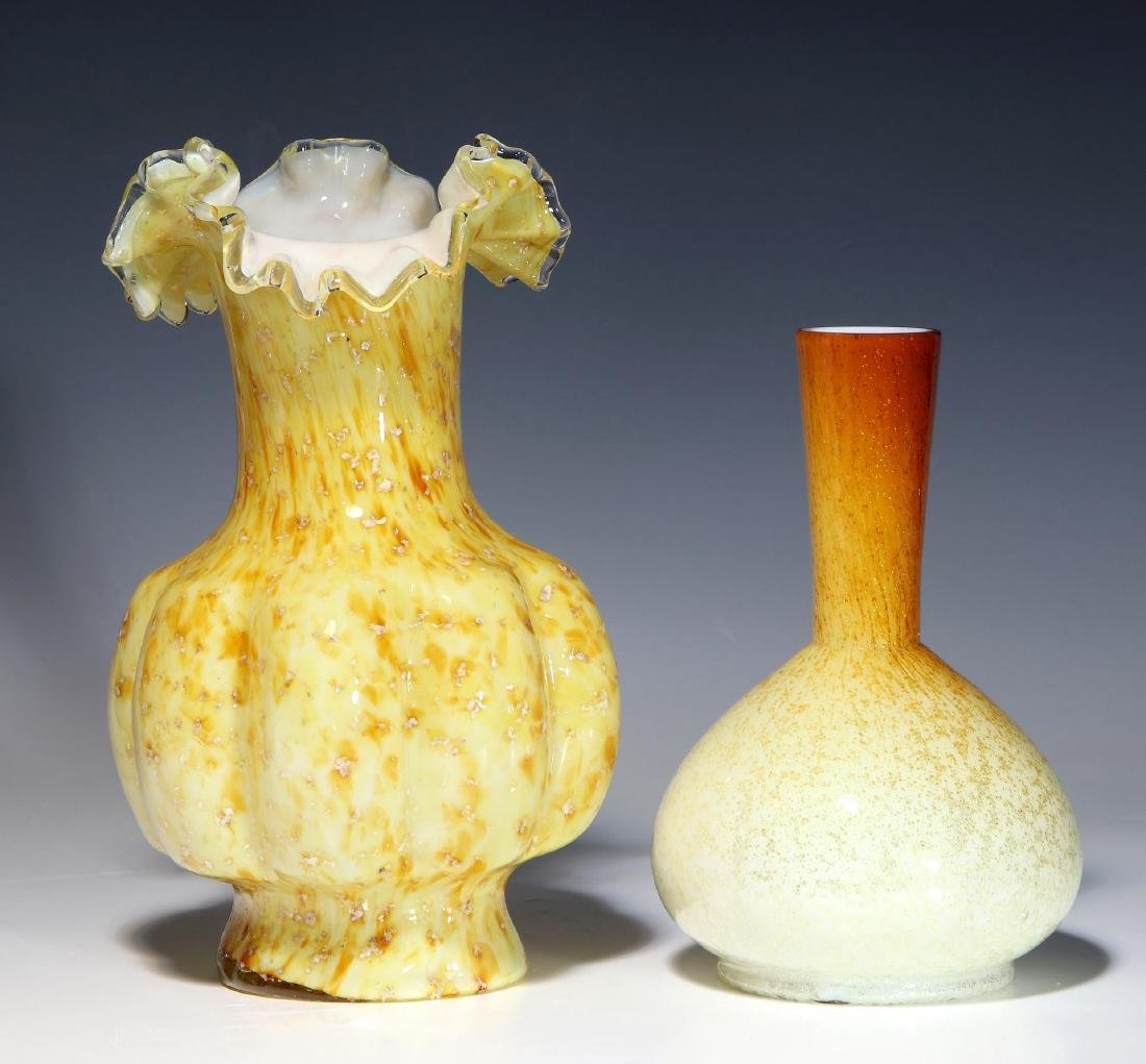 A NICE EXAMPLE OF 19TH C. ART GLASS WITH MICA FLECK