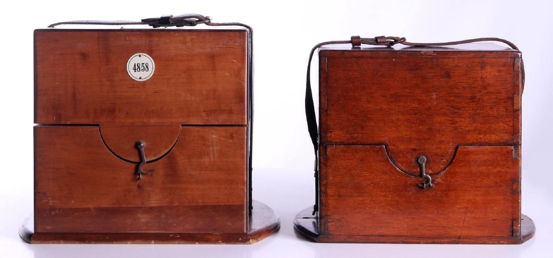FOUR 20TH CENTURY MAHOGANY CHRONOMETER CASES - 4