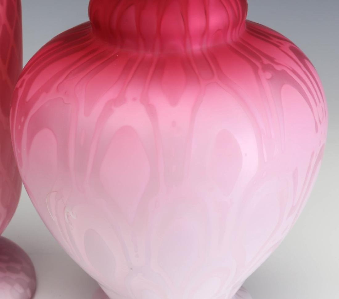 TWO 19TH C. RED SATIN MOTHER OF PEARL GLASS VASES - 4