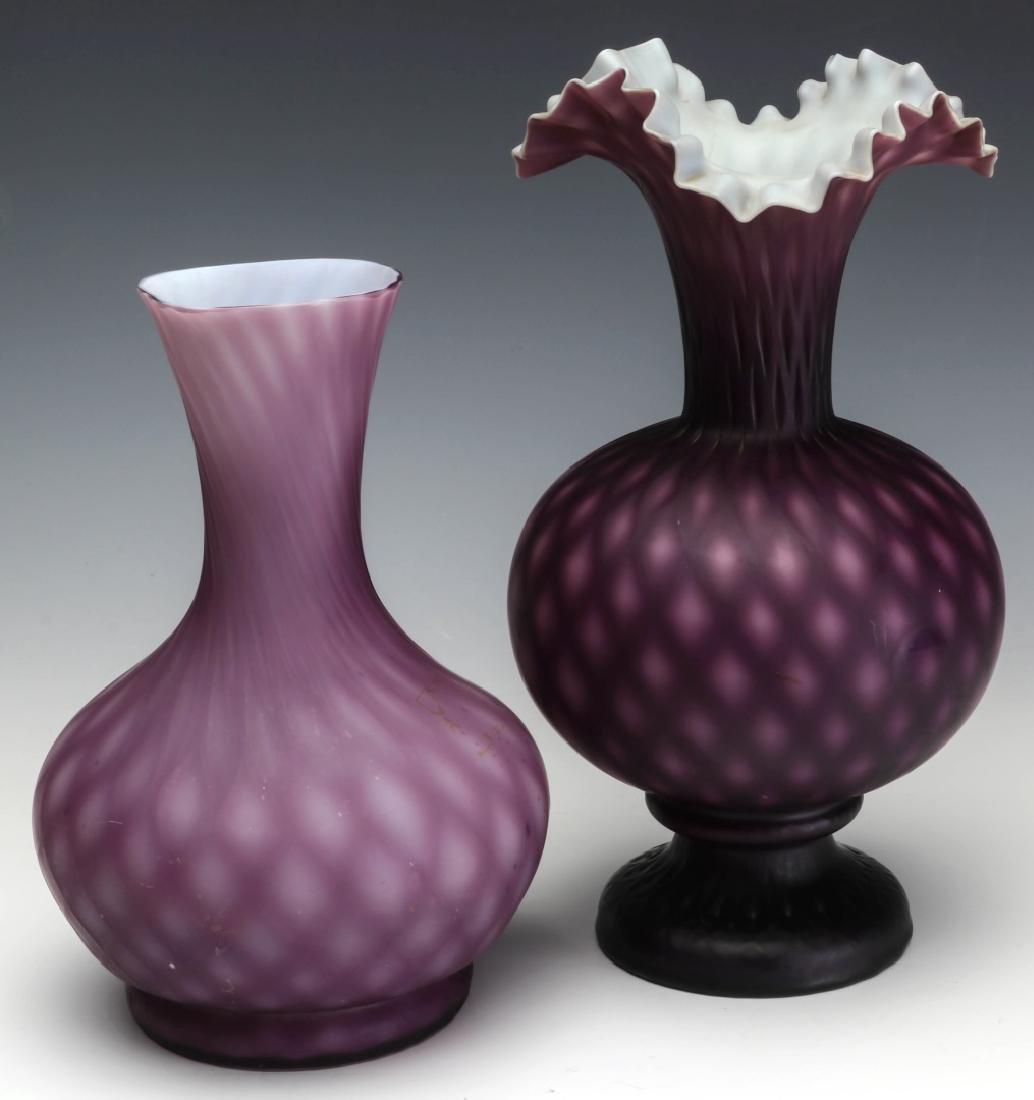 TWO 19TH C. CUT VELVET VICTORIAN ART GLASS VASES