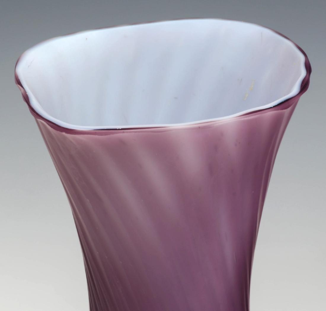 TWO 19TH C. CUT VELVET VICTORIAN ART GLASS VASES - 2