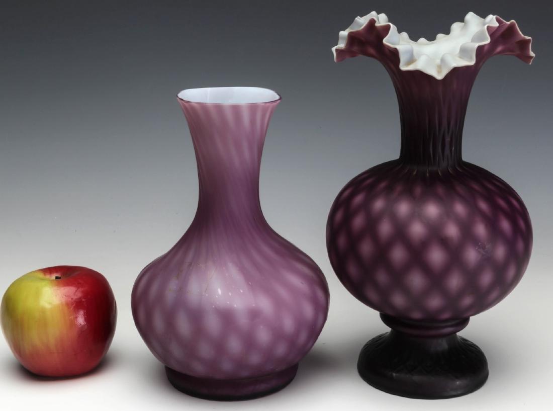 TWO 19TH C. CUT VELVET VICTORIAN ART GLASS VASES - 7