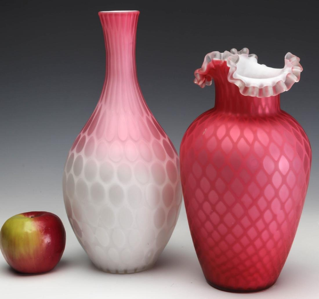 TWO 19TH C. RED SATIN MOTHER OF PEARL GLASS VASES - 5