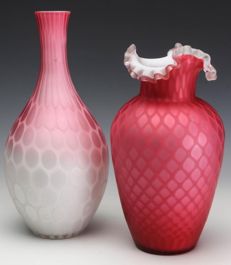 TWO 19TH C. RED SATIN MOTHER OF PEARL GLASS VASES - 7
