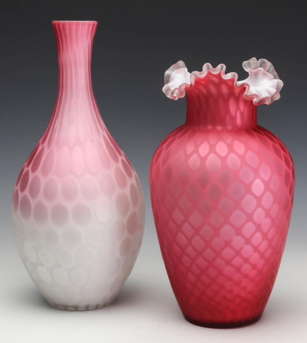 TWO 19TH C. RED SATIN MOTHER OF PEARL GLASS VASES - 8