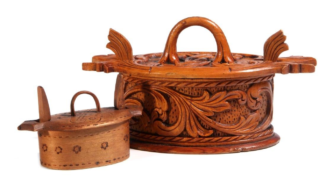 TWO NORWEGIAN CARVED AND BENT WOOD TINE BOXES