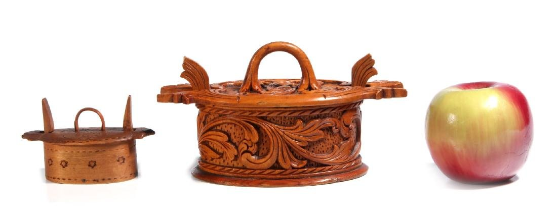 TWO NORWEGIAN CARVED AND BENT WOOD TINE BOXES - 2