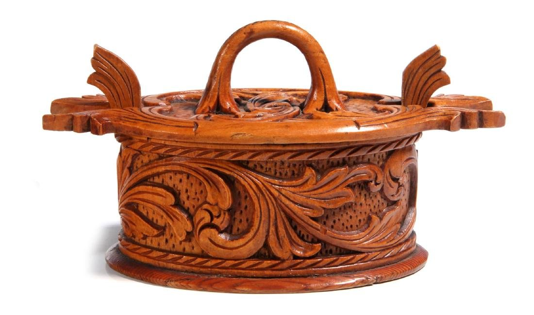 TWO NORWEGIAN CARVED AND BENT WOOD TINE BOXES - 4