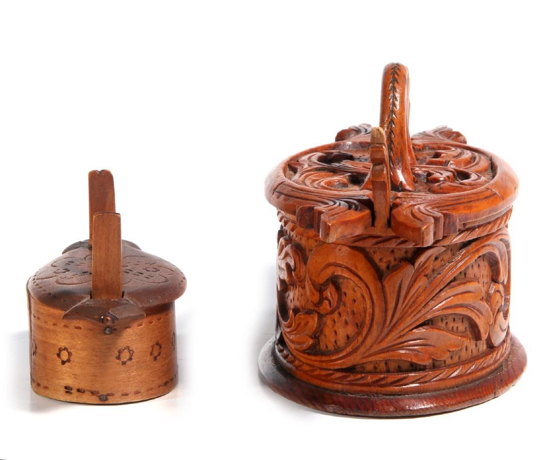 TWO NORWEGIAN CARVED AND BENT WOOD TINE BOXES - 5