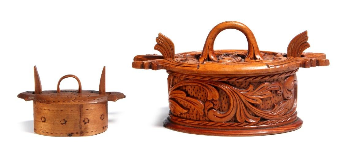 TWO NORWEGIAN CARVED AND BENT WOOD TINE BOXES - 6