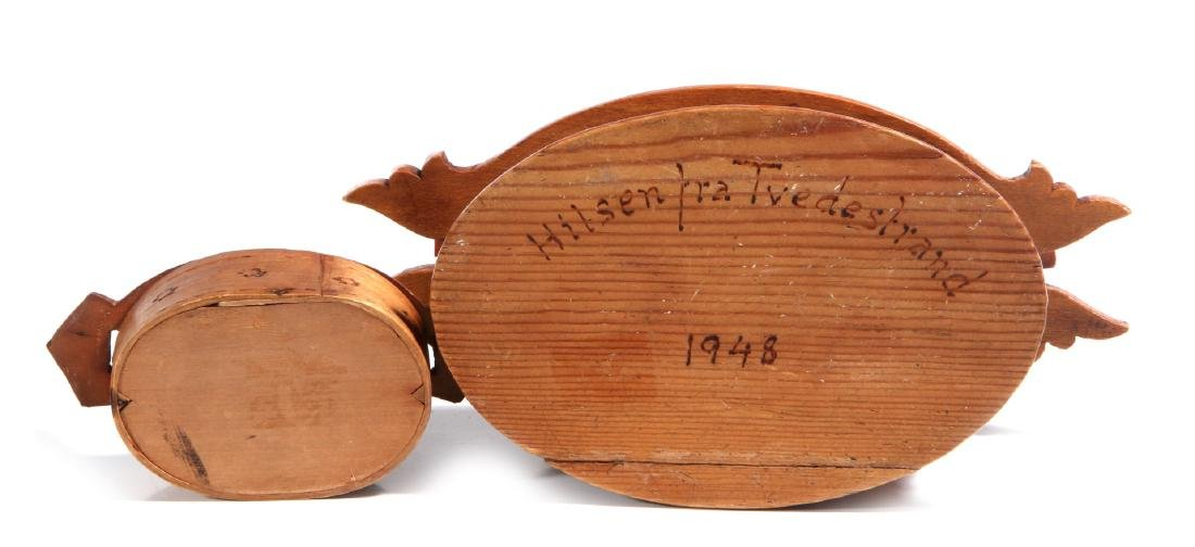 TWO NORWEGIAN CARVED AND BENT WOOD TINE BOXES - 7