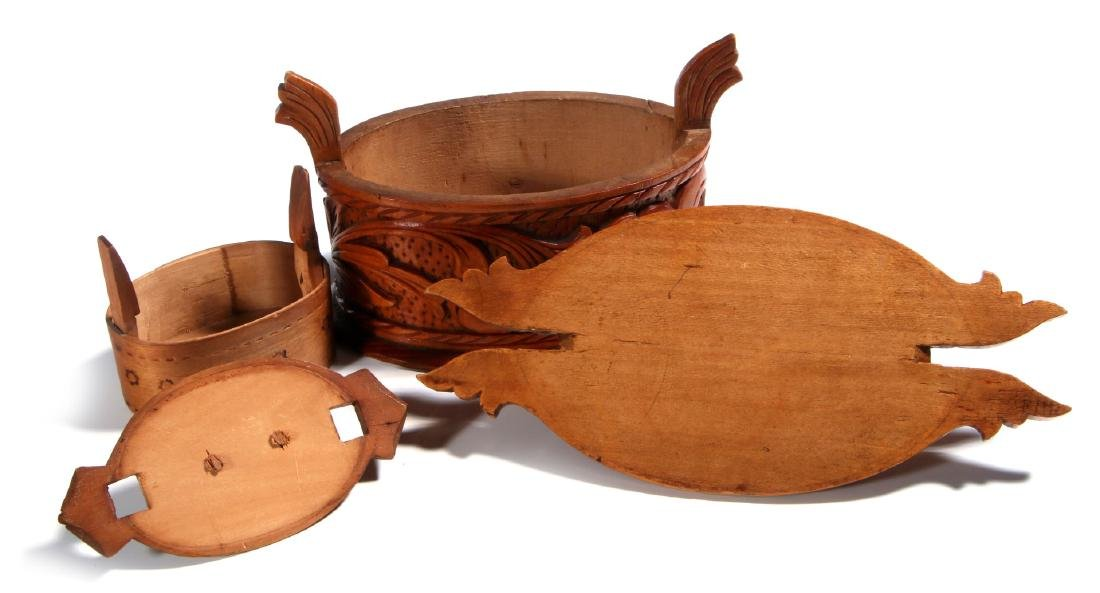 TWO NORWEGIAN CARVED AND BENT WOOD TINE BOXES - 8