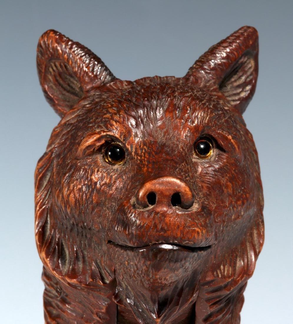 A BLACK FOREST CARVED WOOD FIGURAL BEAR NUTCRACKER - 3