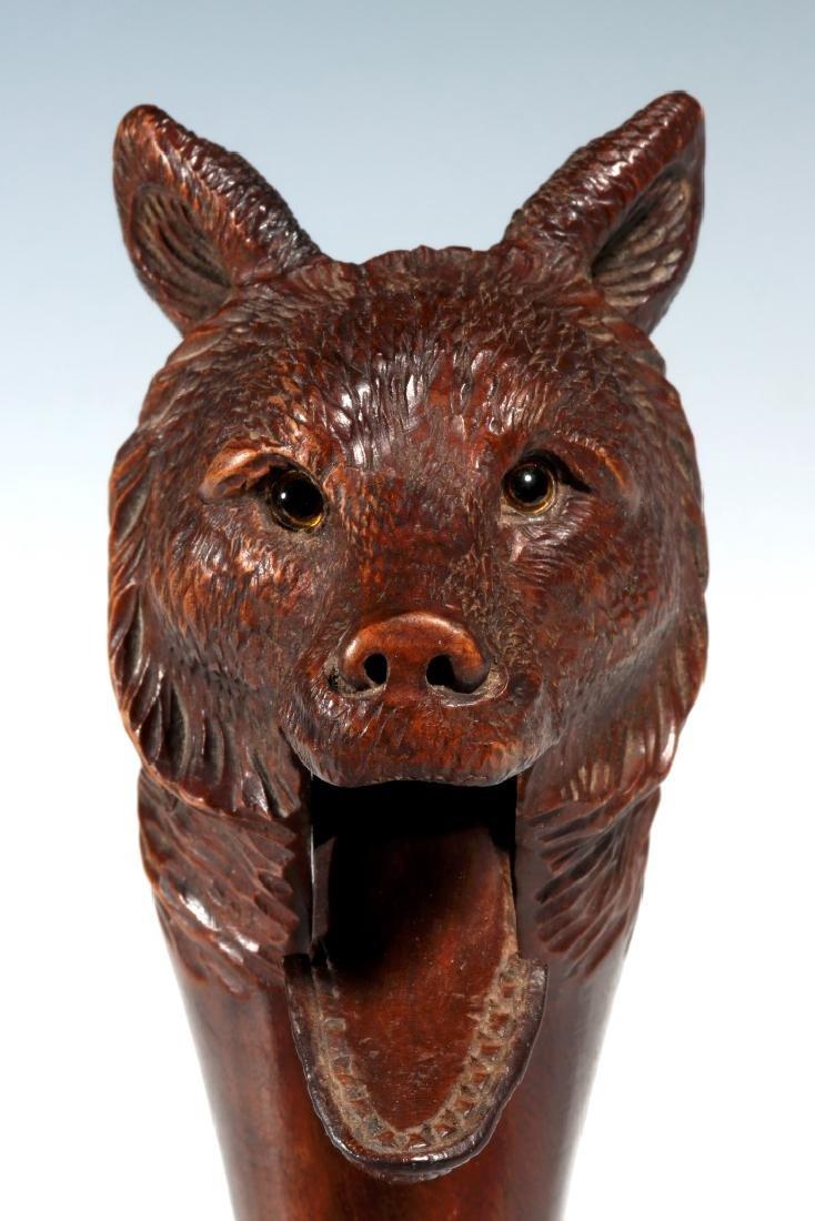 A BLACK FOREST CARVED WOOD FIGURAL BEAR NUTCRACKER - 7
