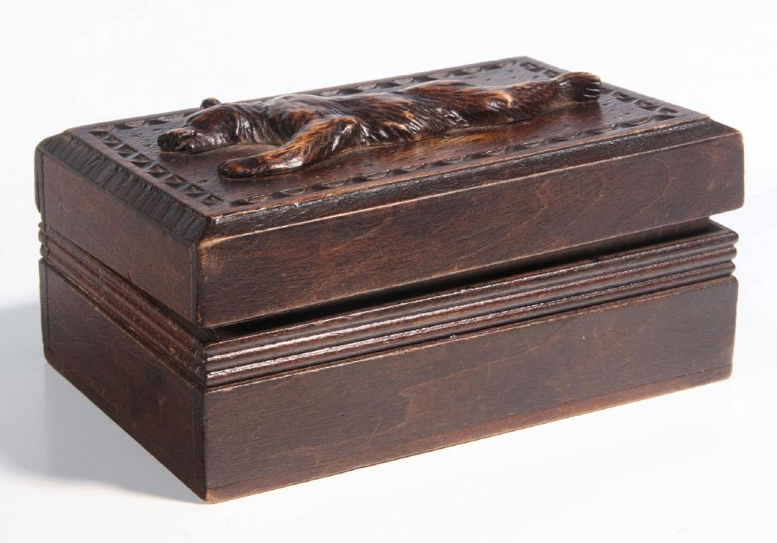 A CIRCA 1900 BLACK FOREST PUZZLE BOX WITH BEAR - 2