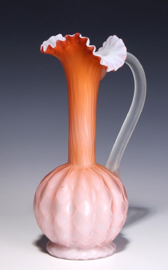 A TALL 19TH C. SATIN APRICOT MOTHER OF PEARL EWER