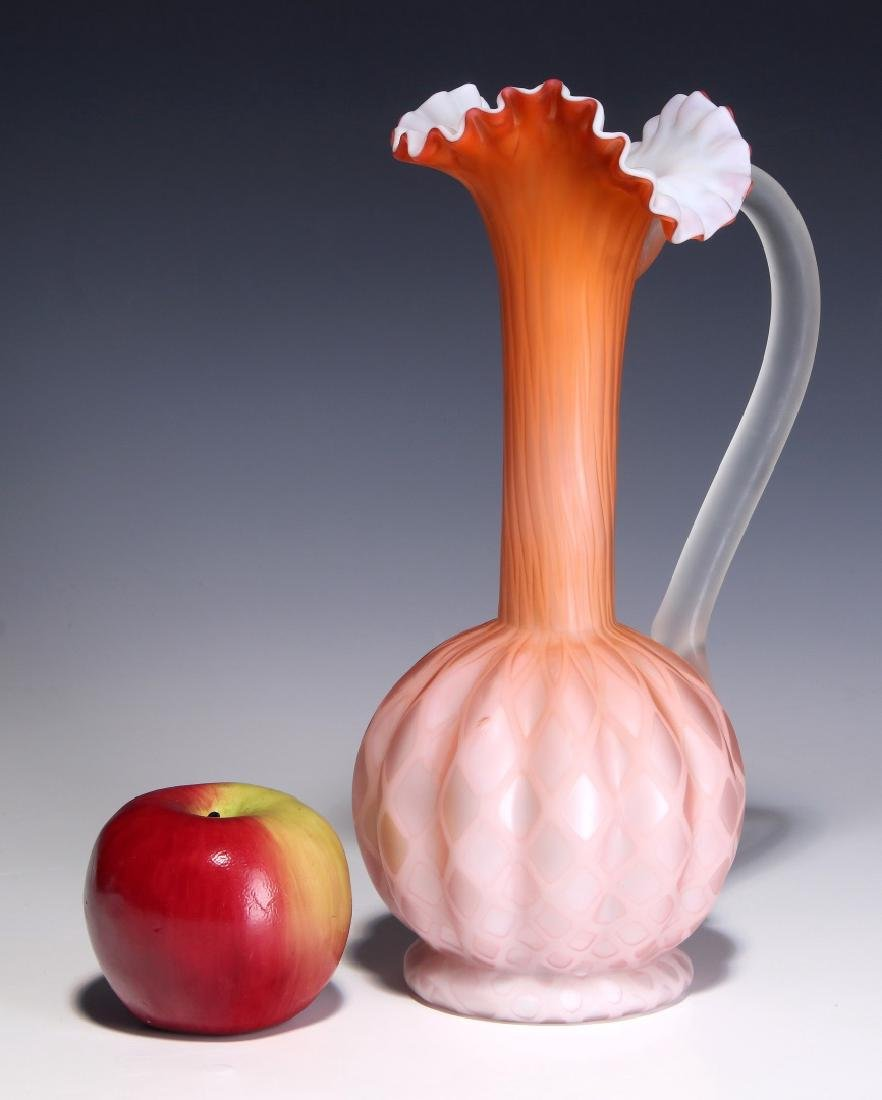 A TALL 19TH C. SATIN APRICOT MOTHER OF PEARL EWER - 2