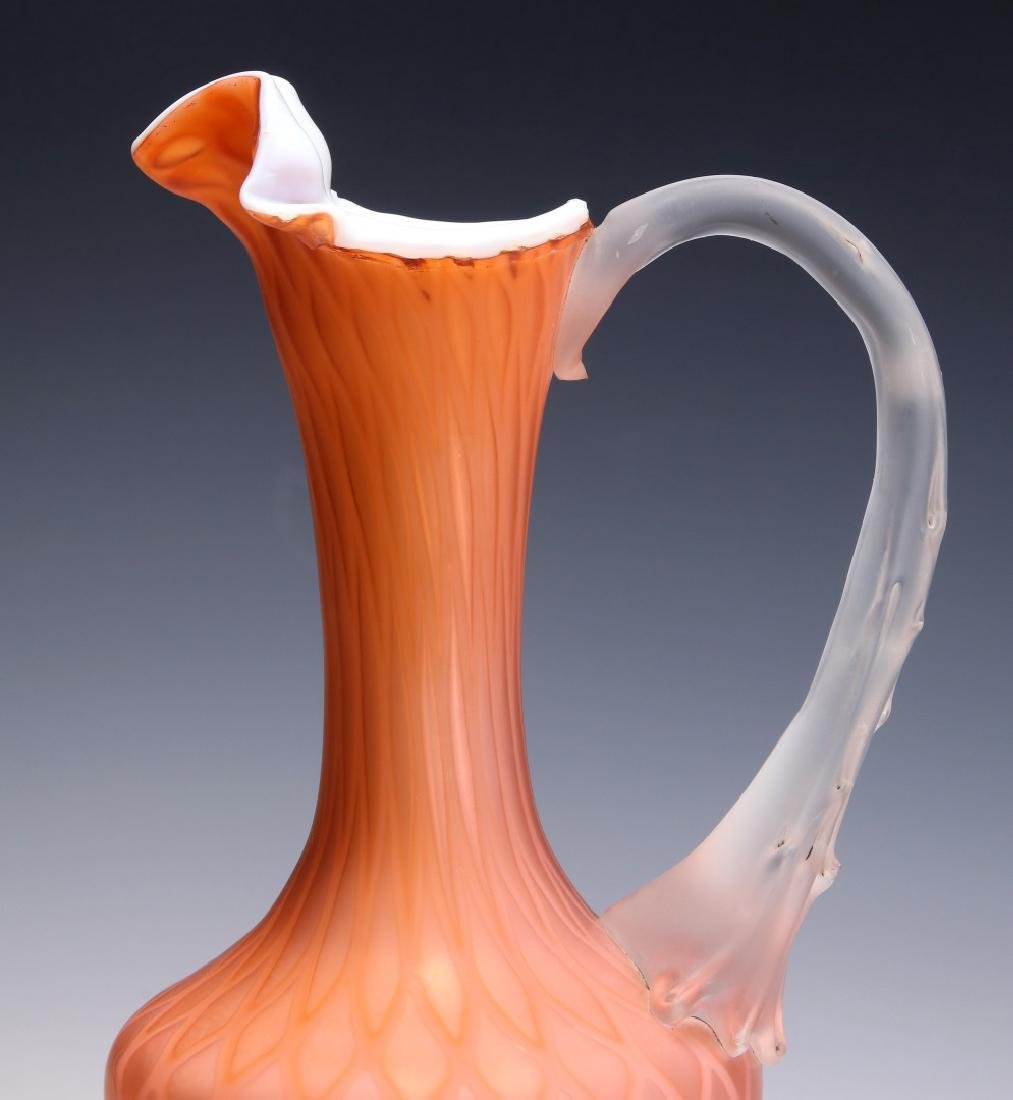 A TALL 19TH C. SATIN APRICOT MOTHER OF PEARL EWER - 3