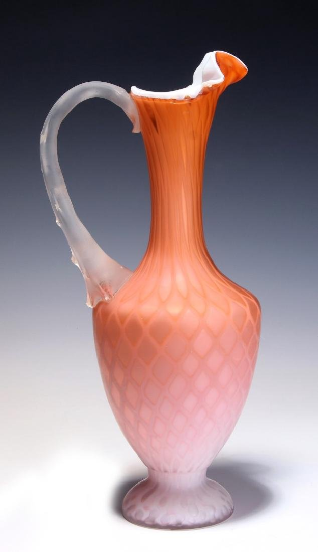 A TALL 19TH C. SATIN APRICOT MOTHER OF PEARL EWER - 6