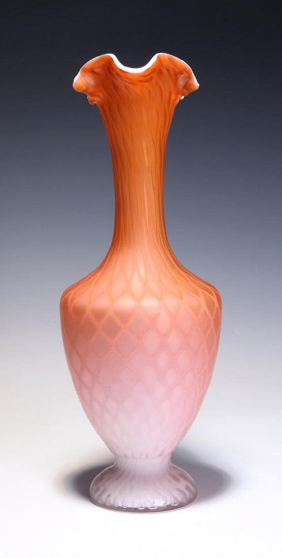 A TALL 19TH C. SATIN APRICOT MOTHER OF PEARL EWER - 7