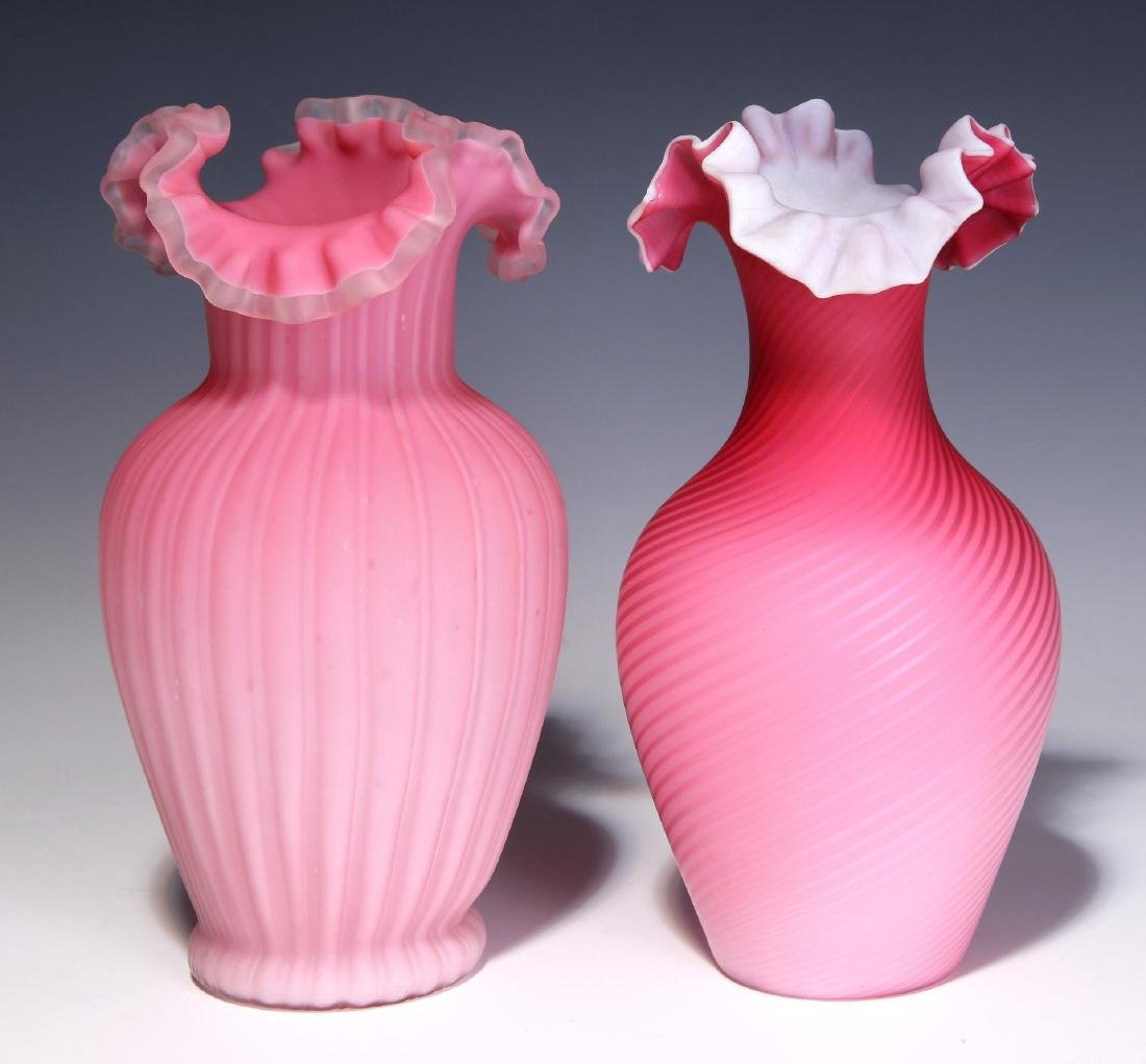 TWO 19TH C. RED CUT VELVET AND SATIN GLASS VASES