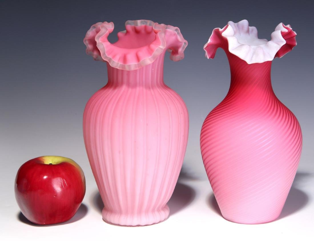 TWO 19TH C. RED CUT VELVET AND SATIN GLASS VASES - 2