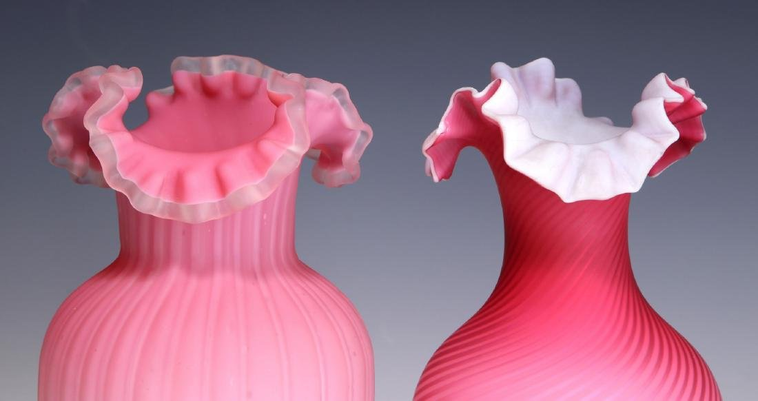 TWO 19TH C. RED CUT VELVET AND SATIN GLASS VASES - 3