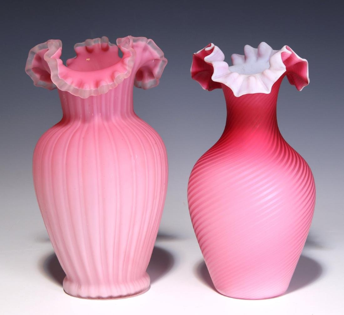 TWO 19TH C. RED CUT VELVET AND SATIN GLASS VASES - 6