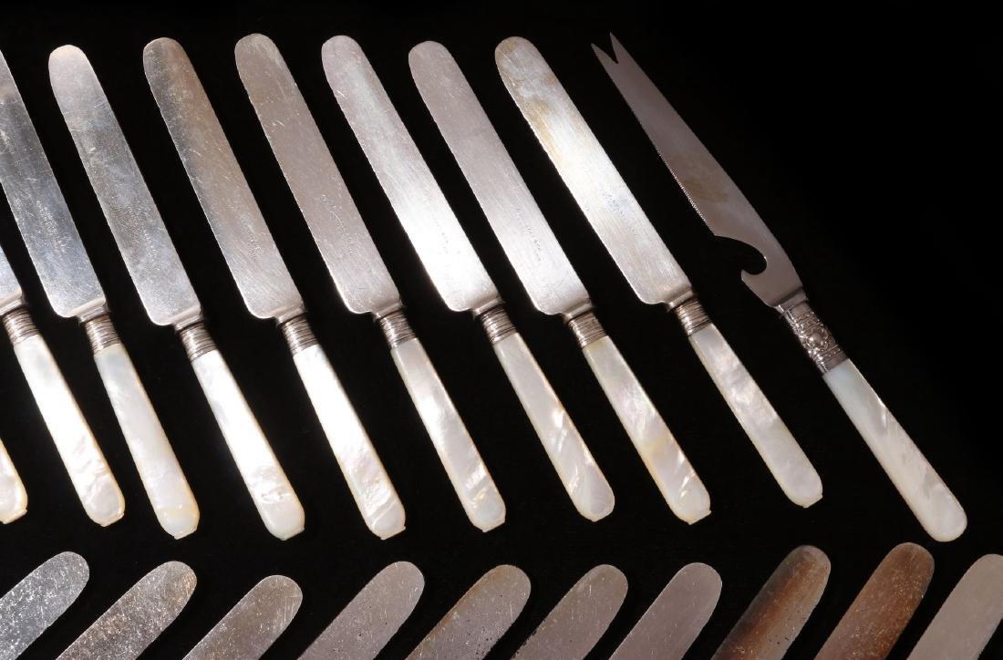 TWENTY FIVE PCS PEARL HANDLED KNIVES AND SPOON - 4