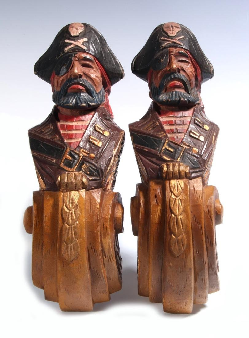 A PAIR CARVED WOOD PIRATE BUST PILASTERS