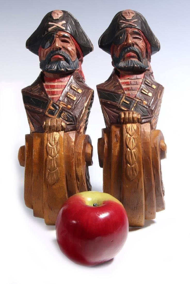 A PAIR CARVED WOOD PIRATE BUST PILASTERS - 2