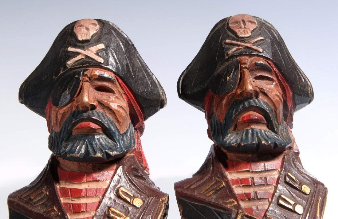 A PAIR CARVED WOOD PIRATE BUST PILASTERS - 3