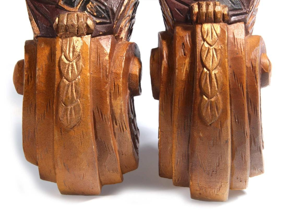 A PAIR CARVED WOOD PIRATE BUST PILASTERS - 4
