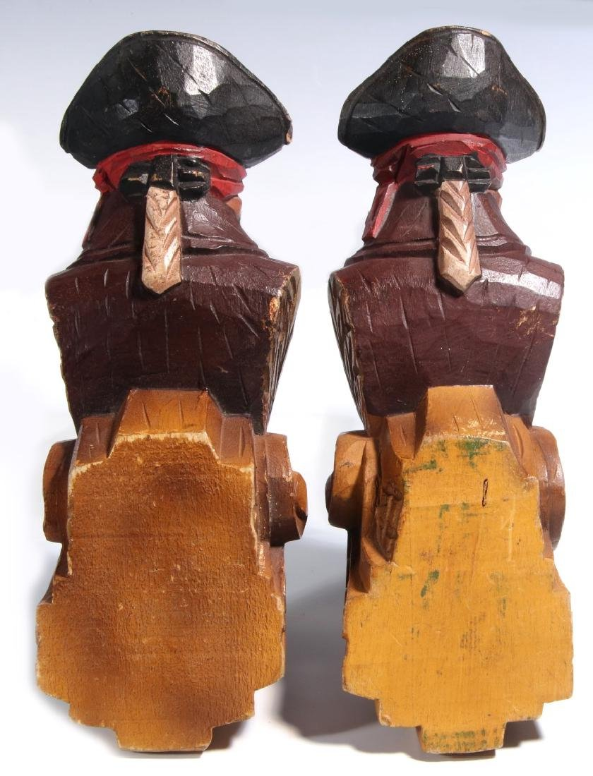 A PAIR CARVED WOOD PIRATE BUST PILASTERS - 5