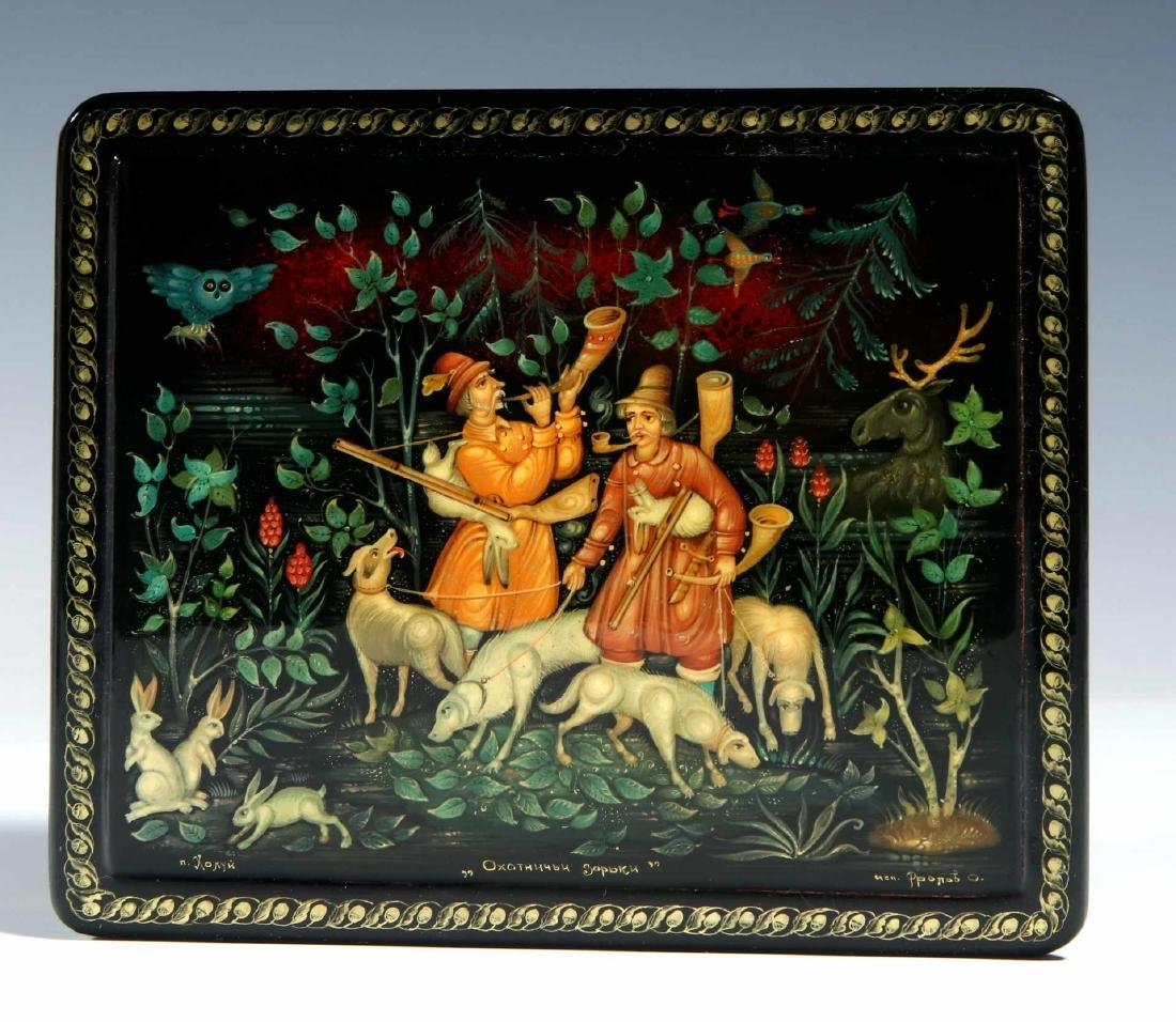 THREE 20TH CENTURY RUSSIAN LACQUER BOXES - 4