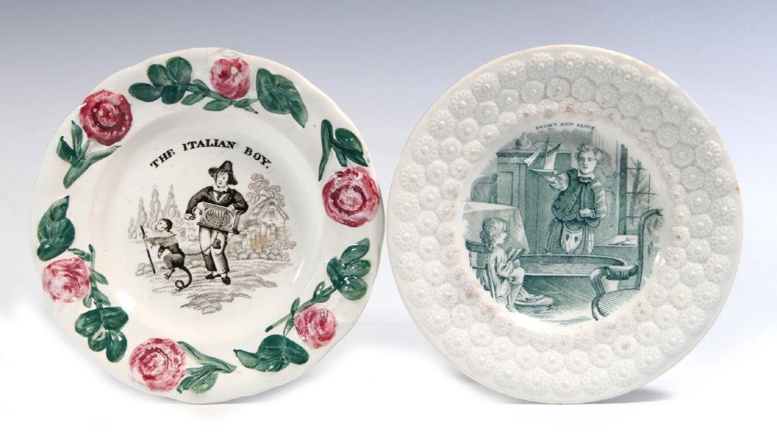 TWO 19TH CENTURY STAFFORDSHIRE CHILDREN'S PLATES