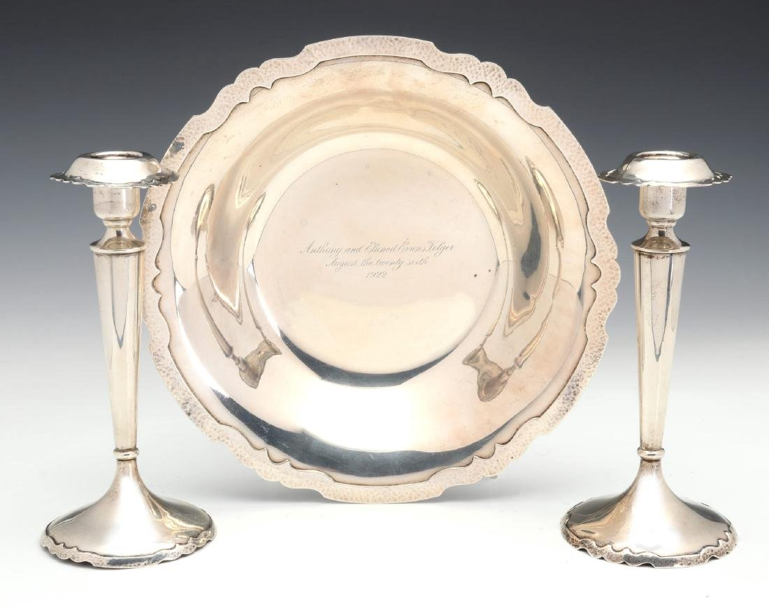 SHREVE AND CO HAMMERED STERLING CONSOLE SET 1922