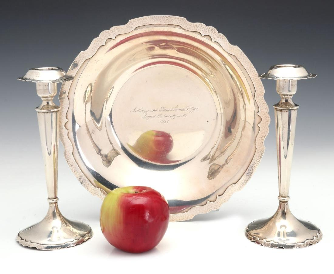 SHREVE AND CO HAMMERED STERLING CONSOLE SET 1922 - 2