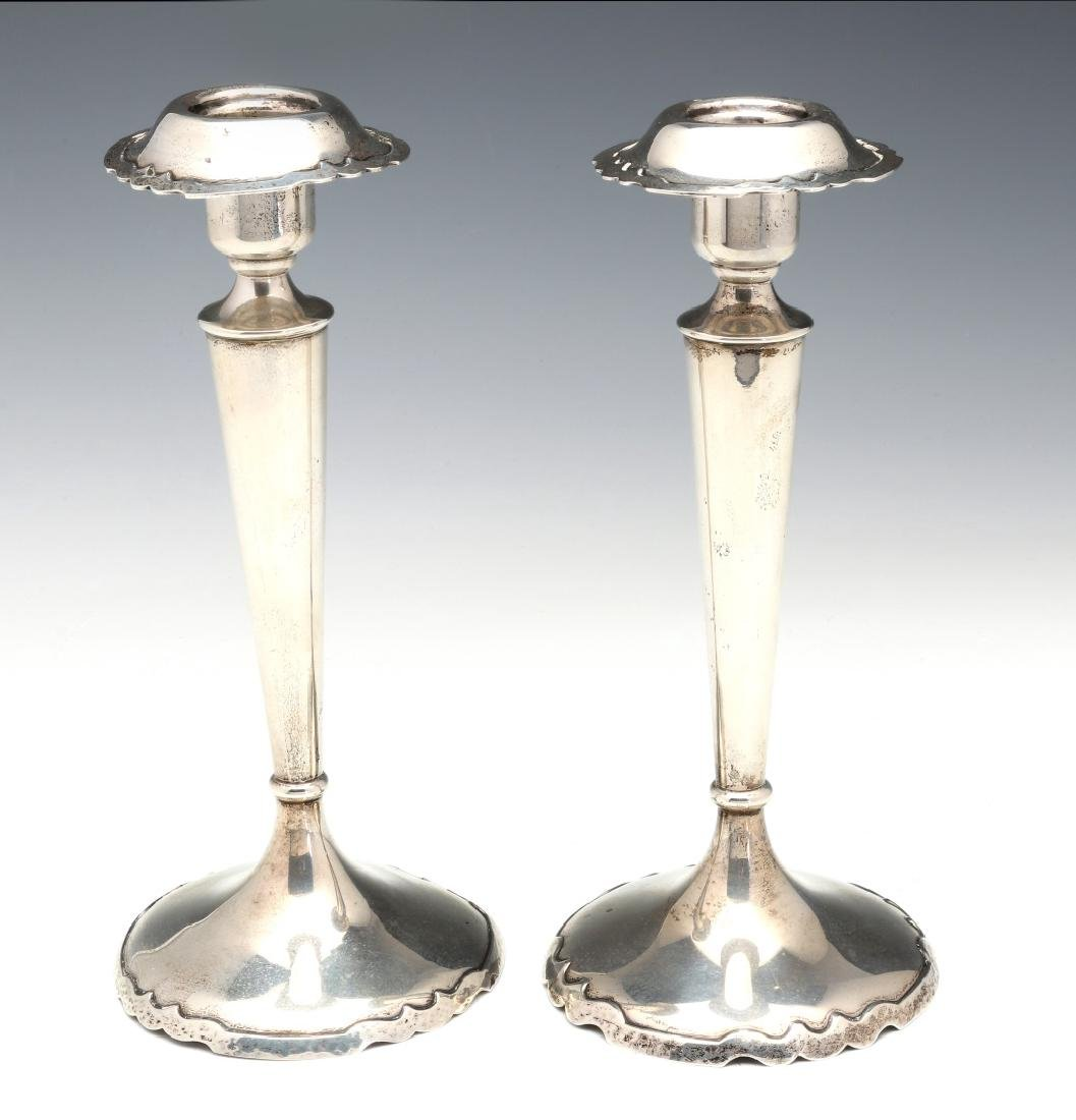 SHREVE AND CO HAMMERED STERLING CONSOLE SET 1922 - 8