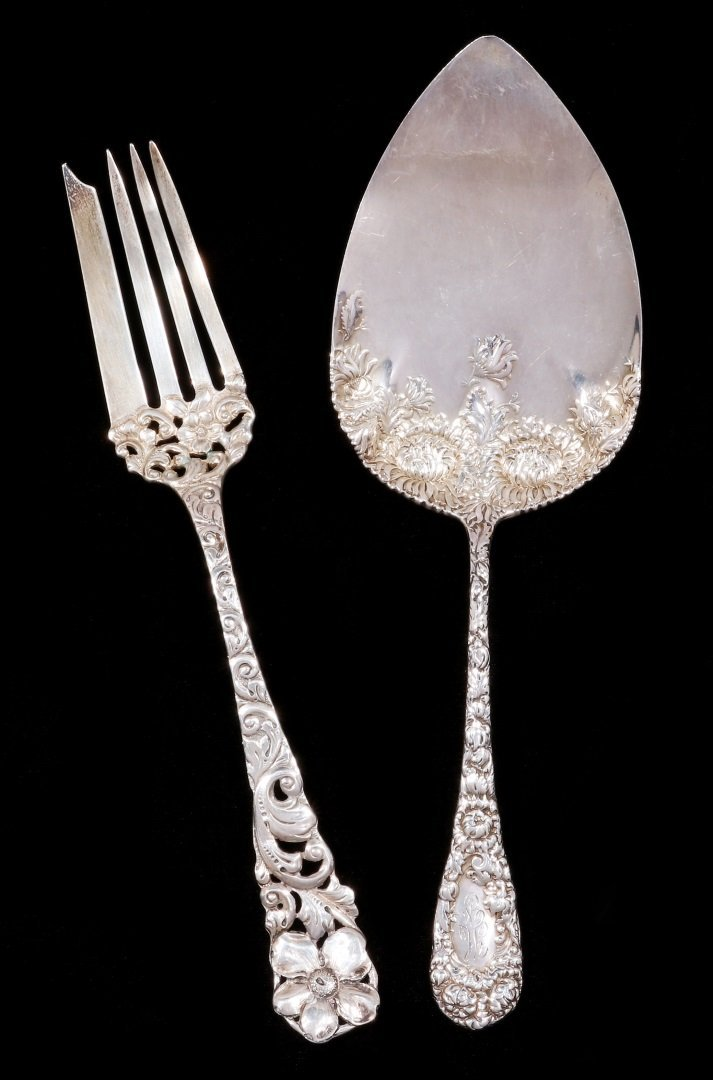 A DURGIN CHRYSANTHEMUM PIE SERVER, PLUS ANOTHER