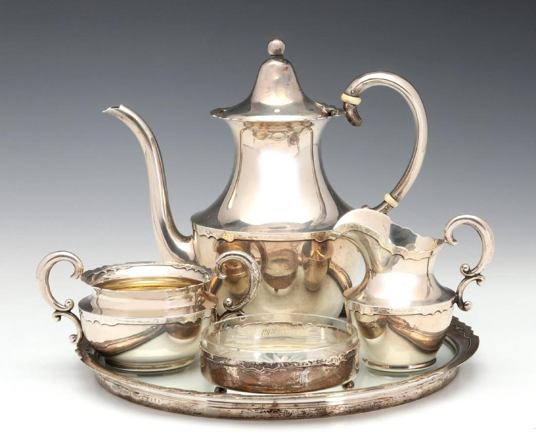 A SHREVE AND CO HAMMERED STERLING COFFEE SET 1913