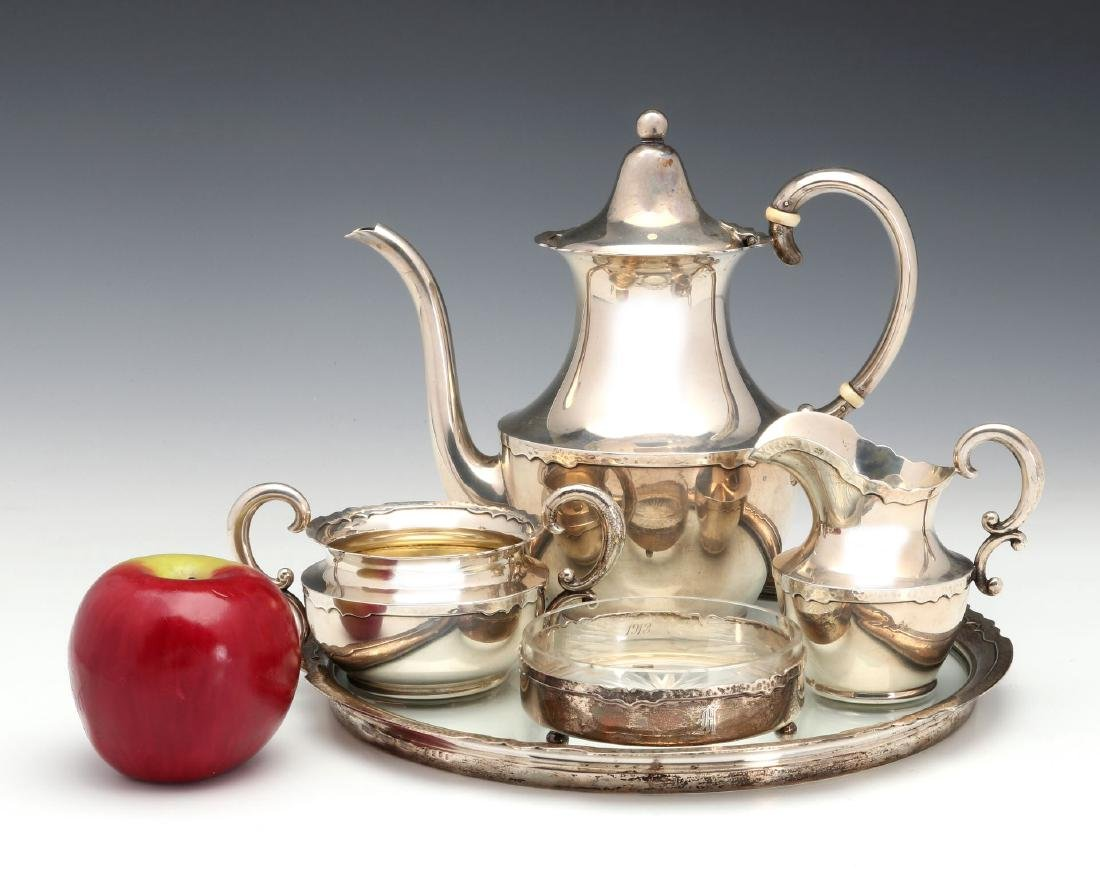 A SHREVE AND CO HAMMERED STERLING COFFEE SET 1913 - 2