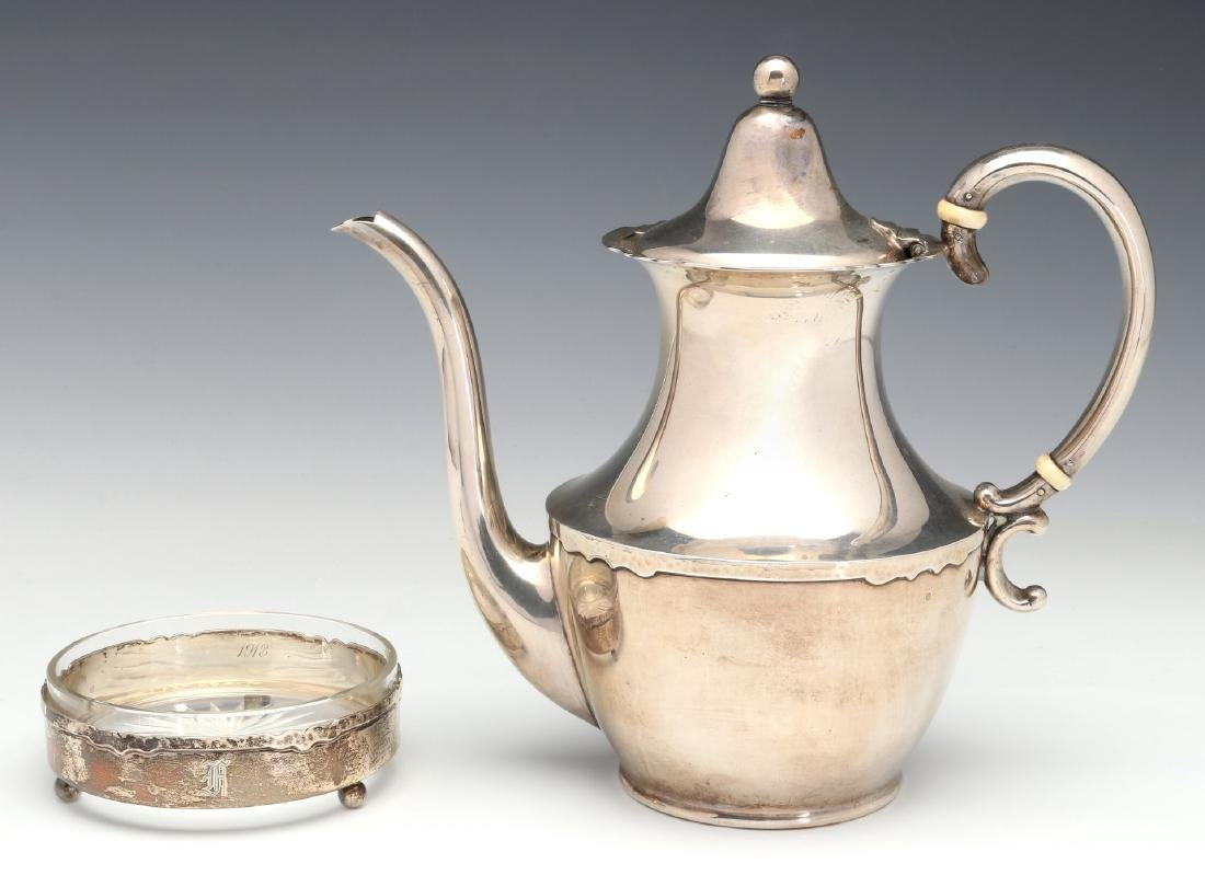 A SHREVE AND CO HAMMERED STERLING COFFEE SET 1913 - 5