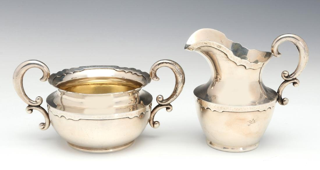 A SHREVE AND CO HAMMERED STERLING COFFEE SET 1913 - 8