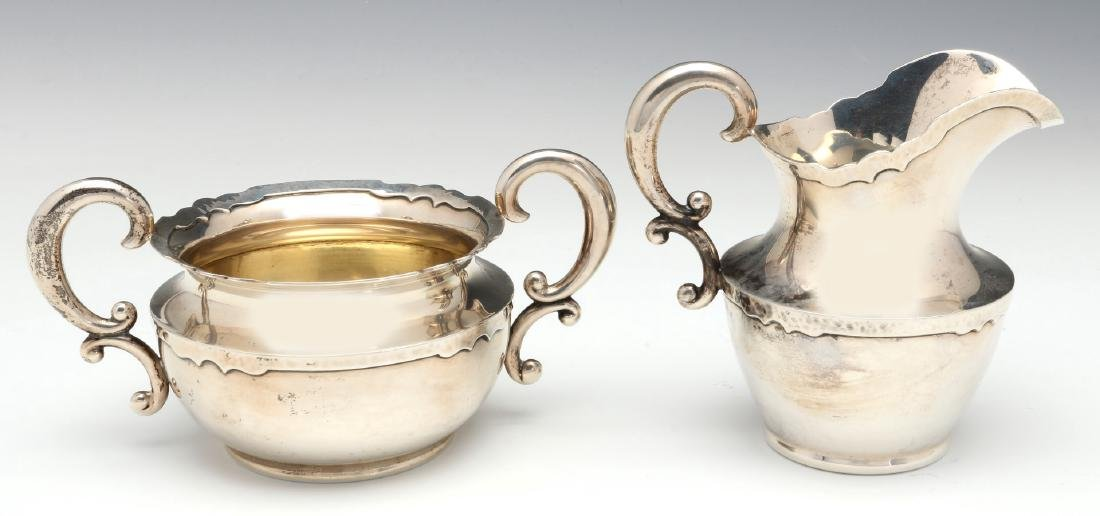 A SHREVE AND CO HAMMERED STERLING COFFEE SET 1913 - 9